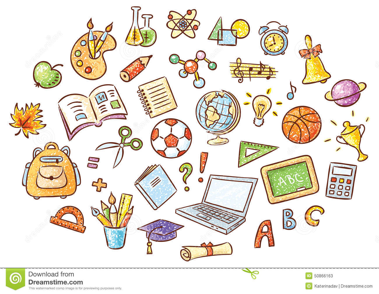 Set Of Simple Cartoon School Things Stock Vector