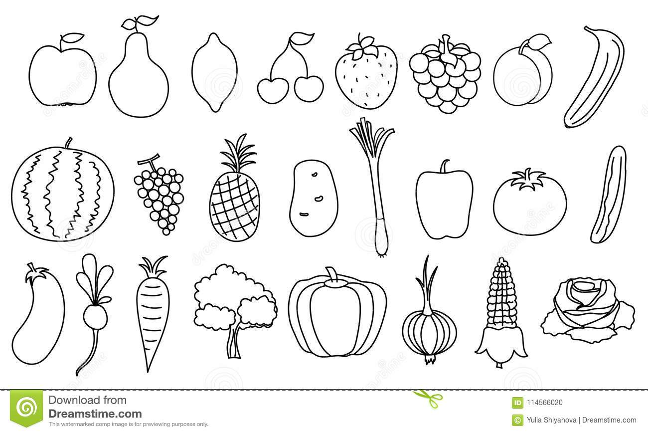 Set Of Simple Drawing Fruits And Vegetable Stock Vector