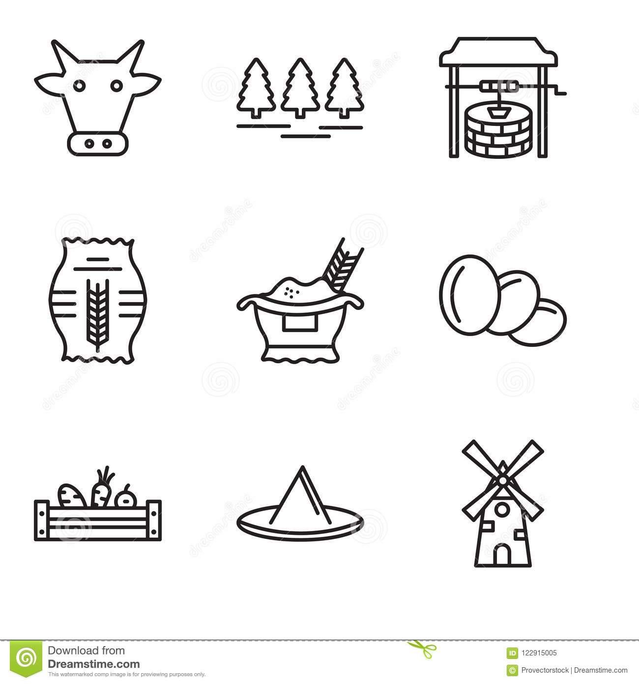 hight resolution of set of 9 simple editable icons such as windmill hat vegetables egg rice grain well forest cow can be used for mobile pixel perfect vector icon