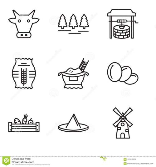 small resolution of set of 9 simple editable icons such as windmill hat vegetables egg rice grain well forest cow can be used for mobile pixel perfect vector icon