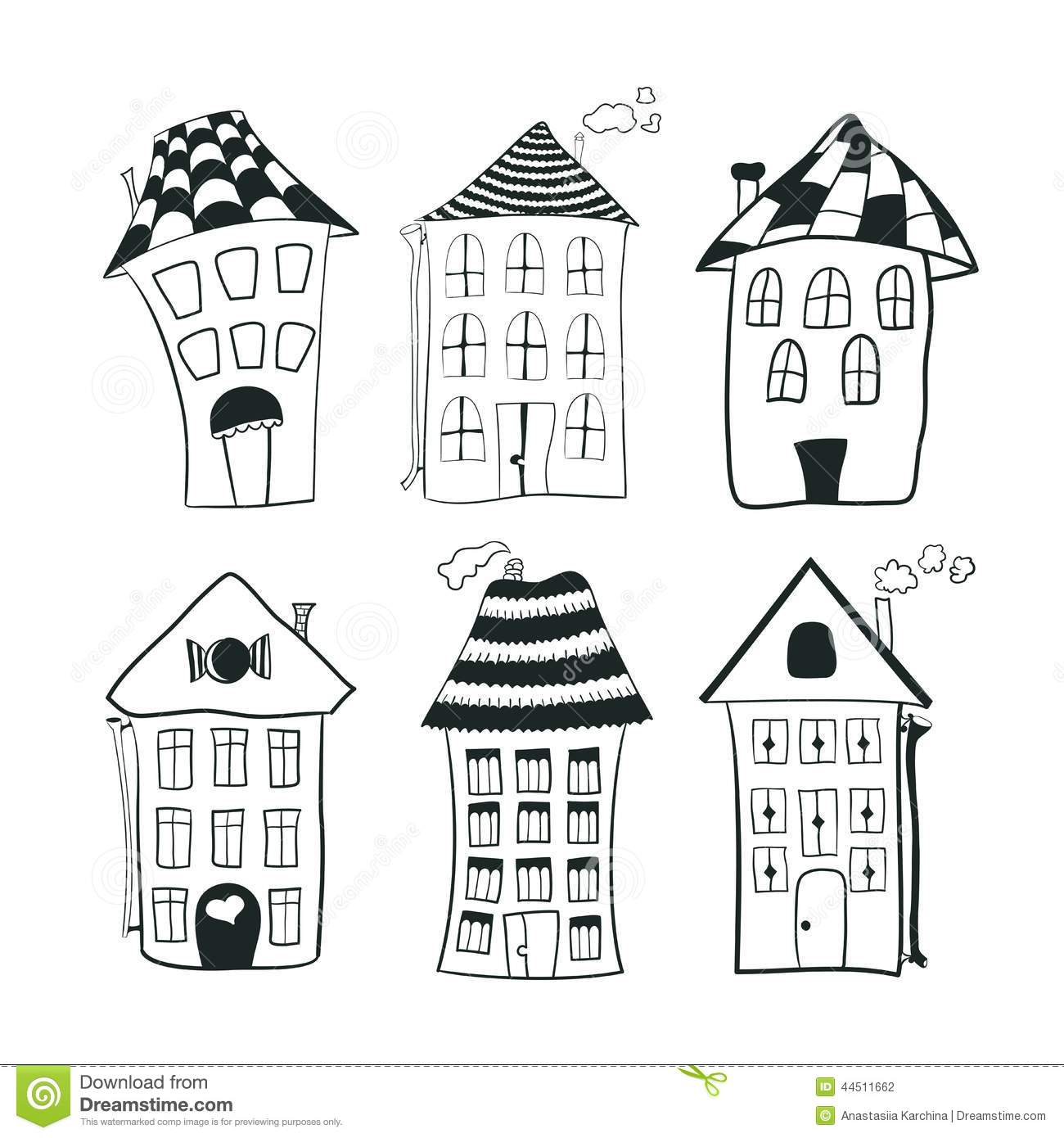 Set Sketch Black And White Outline Houses In Stock Vector