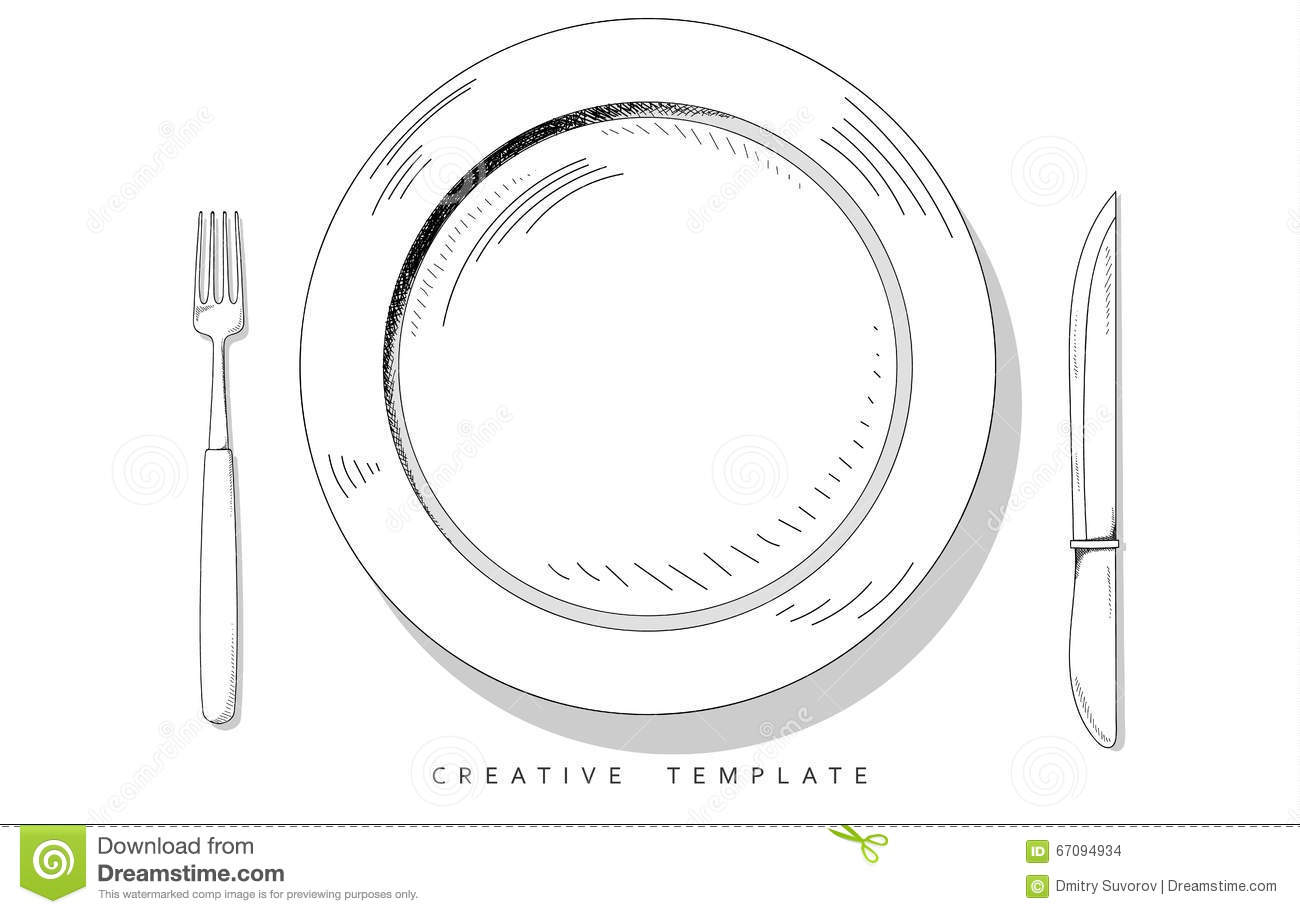 Set Sketch Cutlery. Plate, Fork And Knife. Template For
