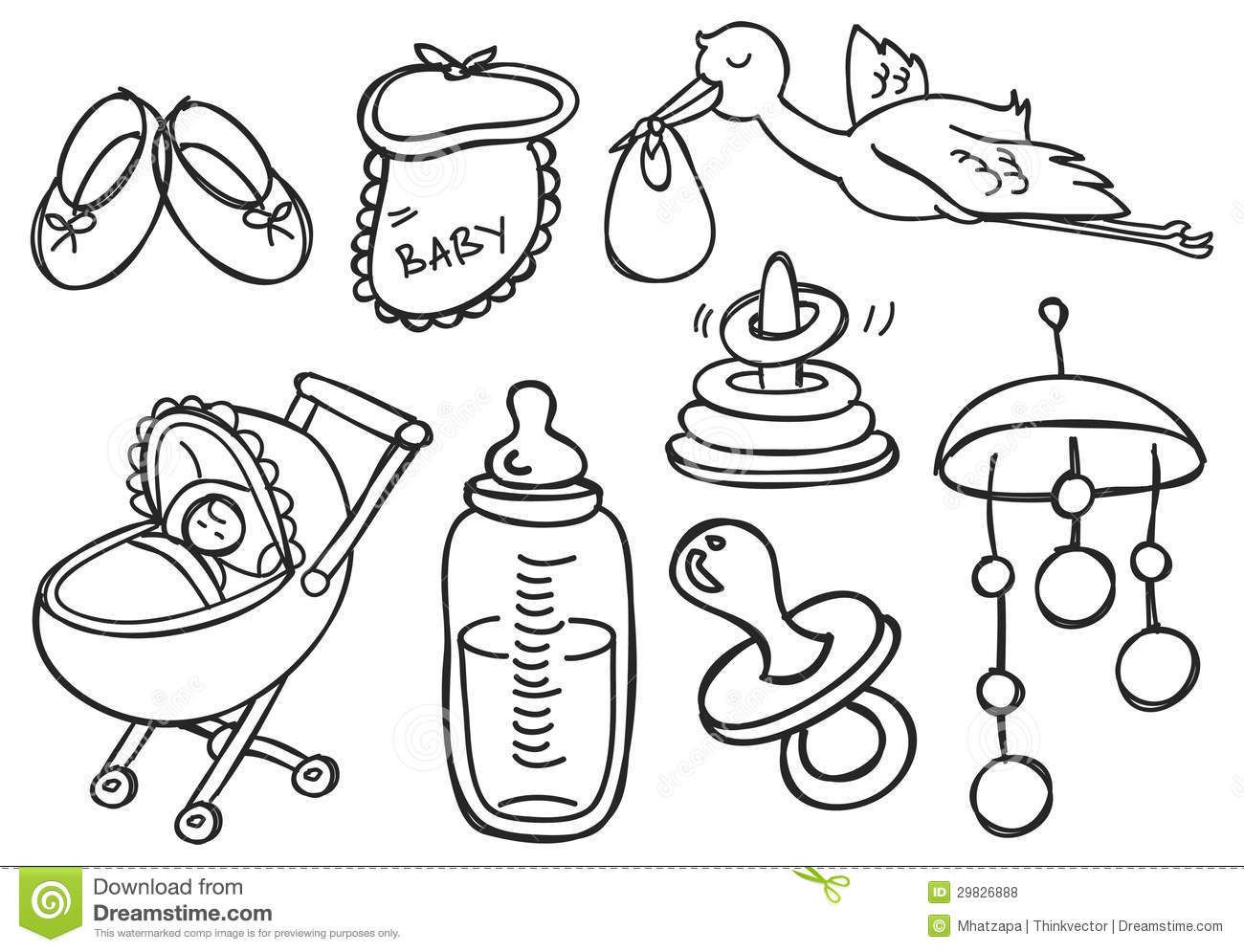 Baby Stuff Stock Illustration Illustration Of Hand Cartoon