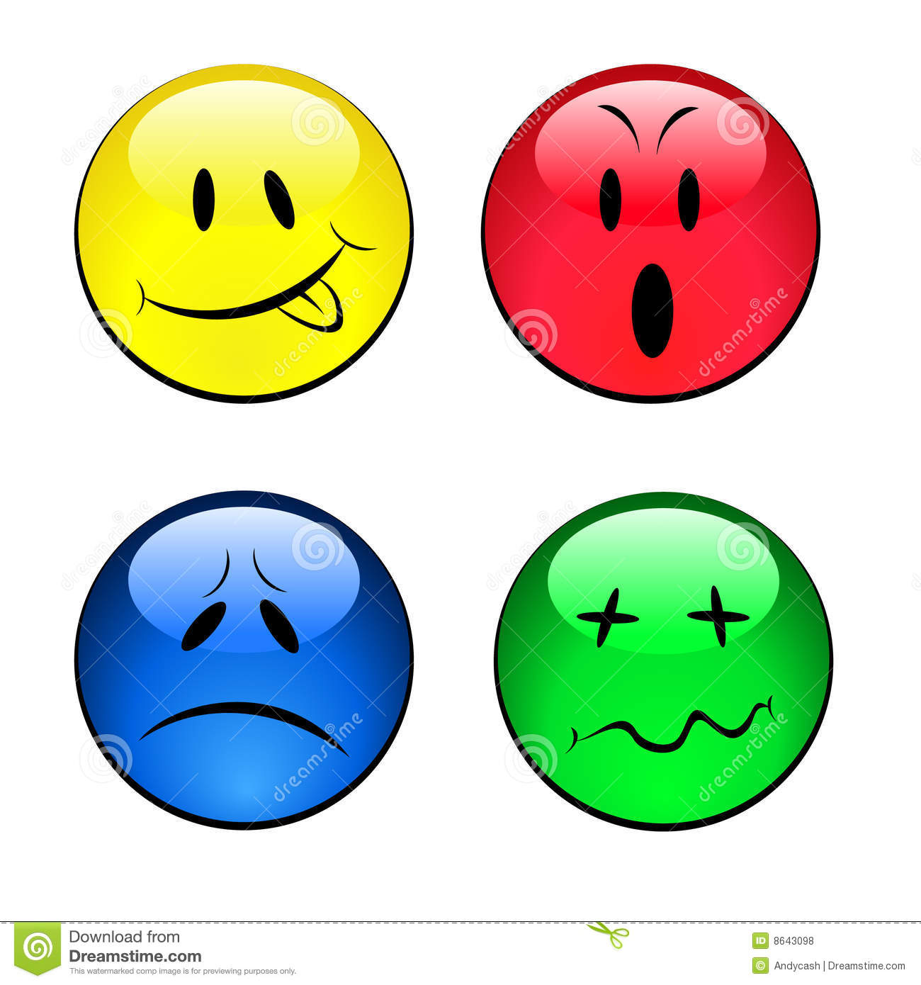 Set Of Smiley Emotional Faces Stock Vector