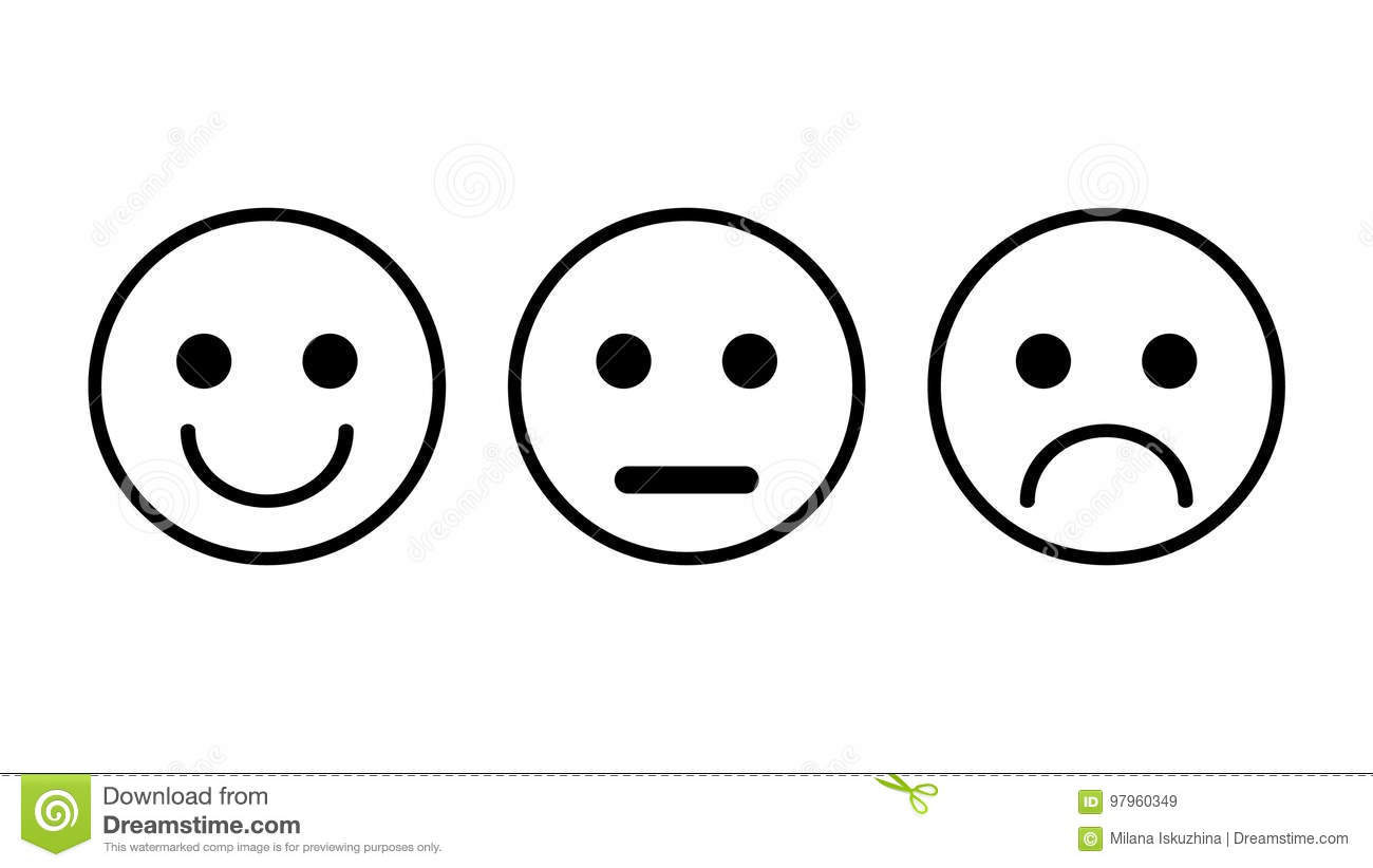 Set Of 3 Smiley Icons Sad Neutral Smiled Stock Vector