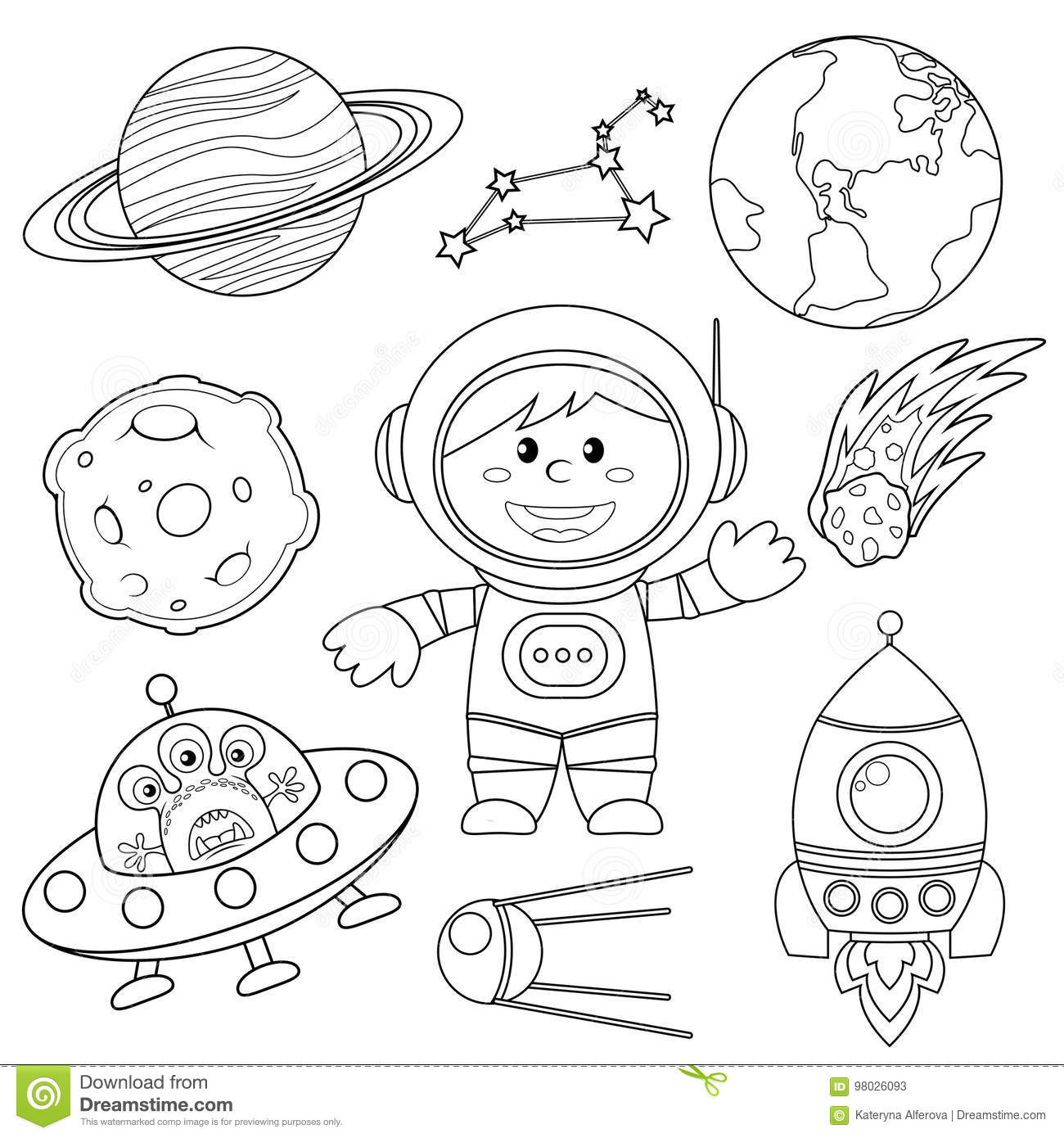 Set Of Space Elements Astronaut Earth Saturn Moon Ufo