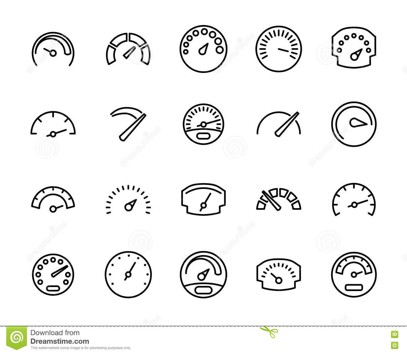 Vector Line Car Dashboard Icons Set Royalty-Free Stock