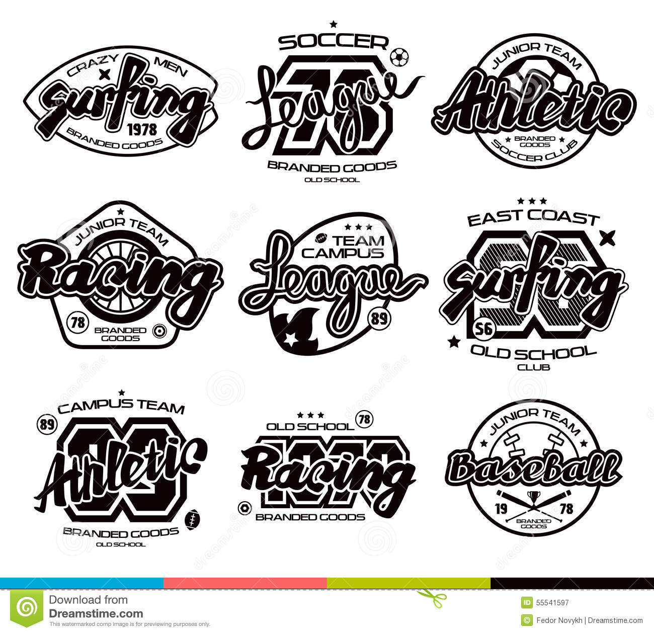 Set Of Sport Badges Graphic Design For T Shirt Stock