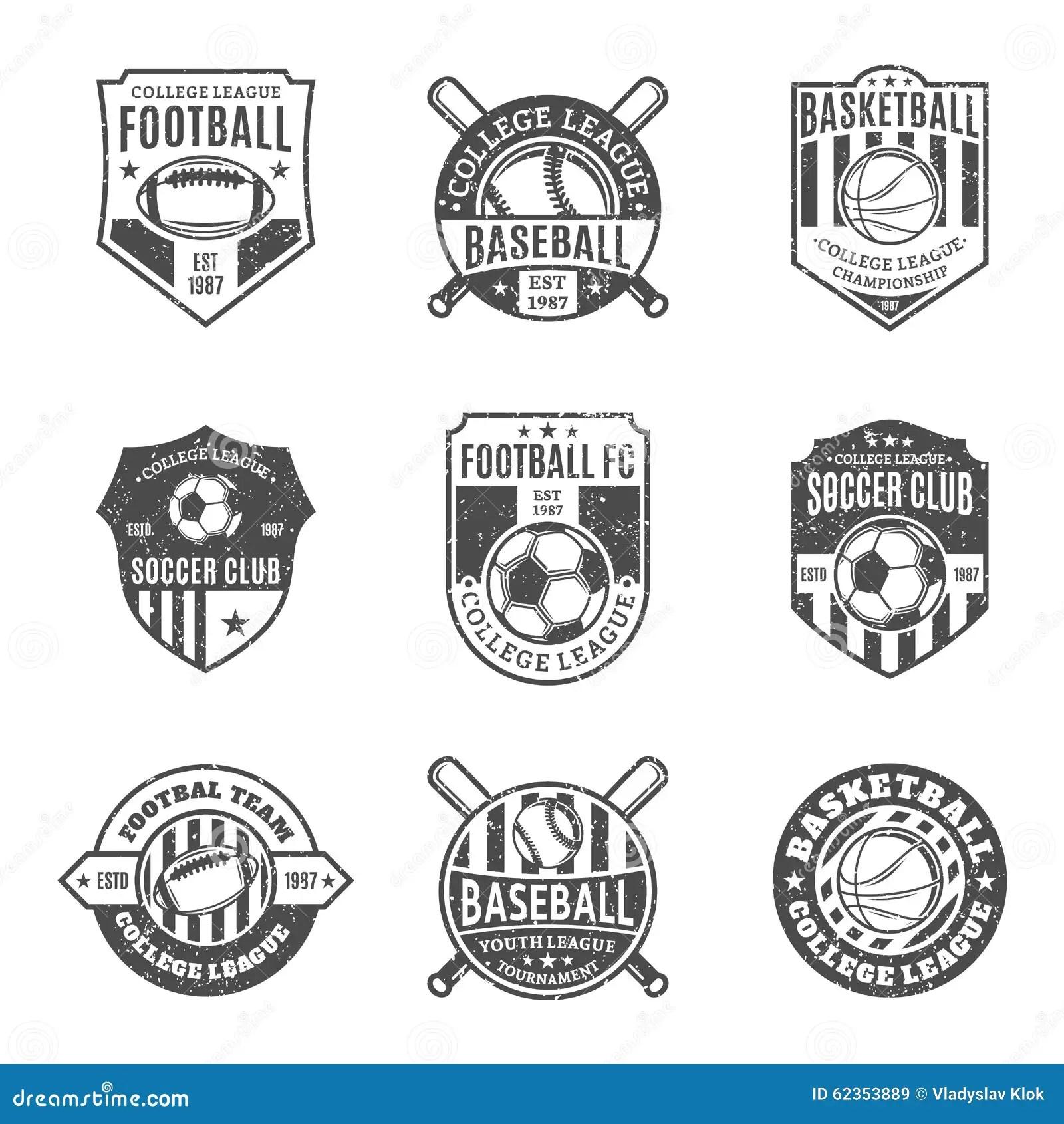 Set Of Sport Team Logo For Four Sport Disciplines Stock