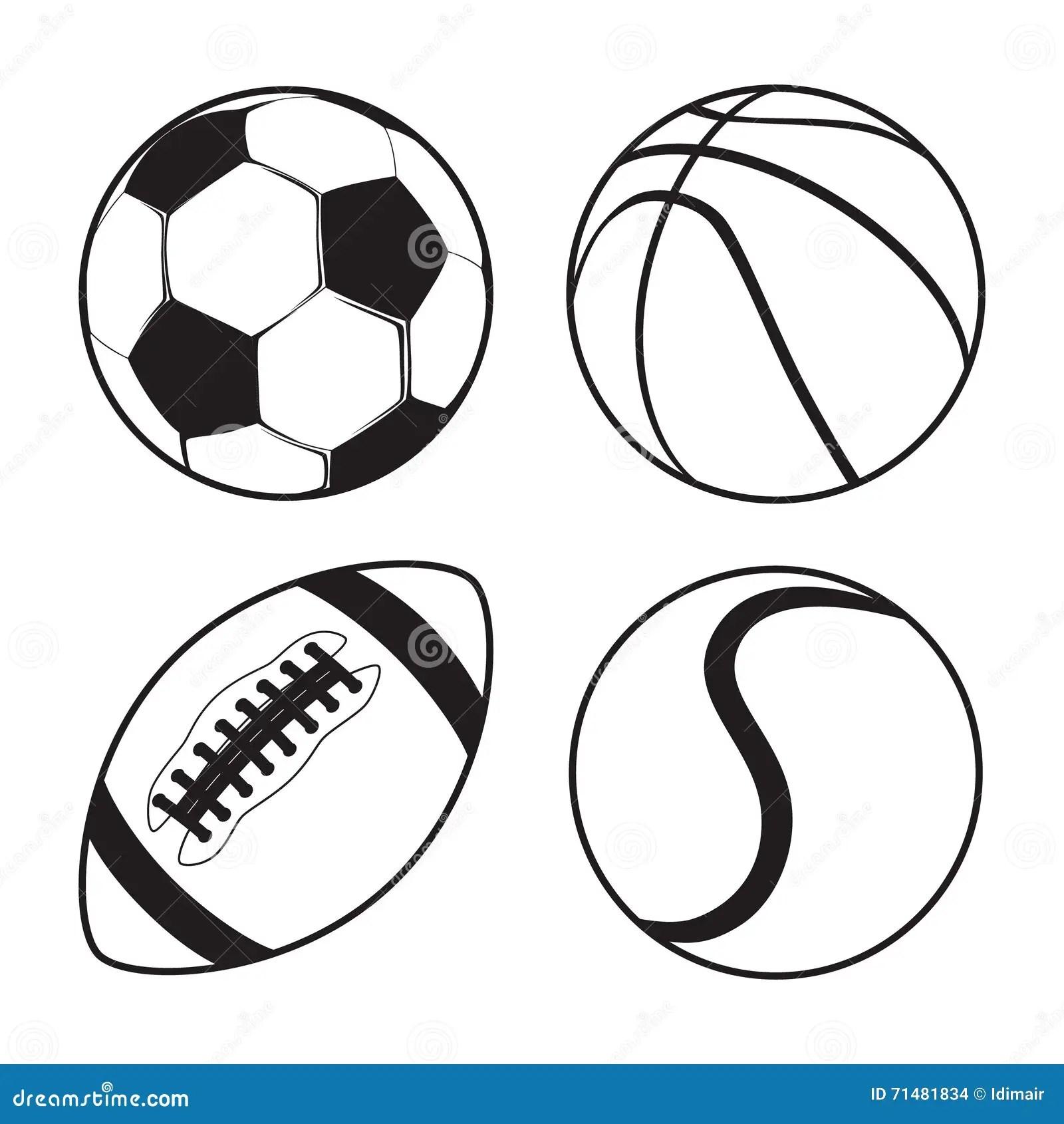 Set Of Sports Balls Soccer Basketball American Football