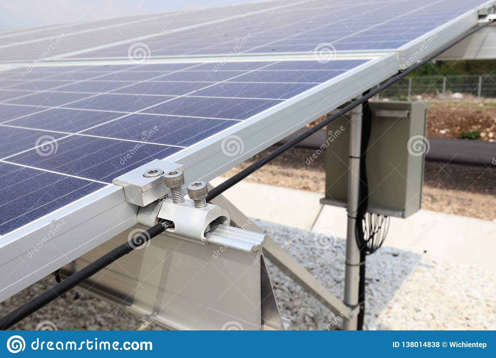 On Ground Solar With Grounding And End Clamps Installation Stock Photo Image Of Solar Kits 138014838