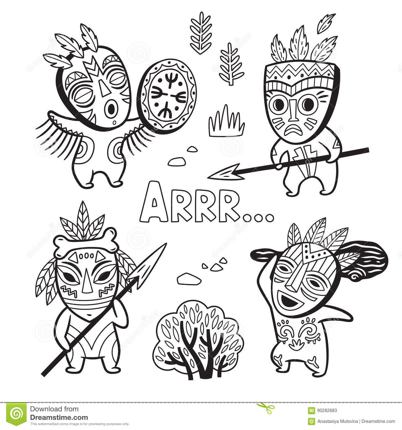 Set Of Stone Age Tribe People In Masks. Coloring Page