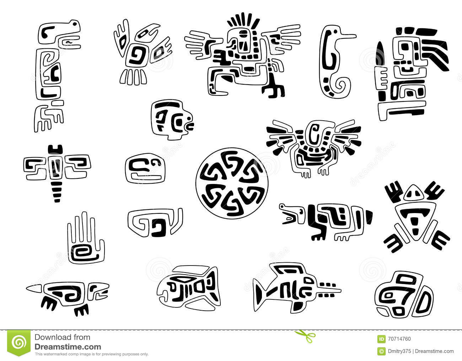 Set Stylizowani Rodowitych Amerykan Symbole Ilustracja