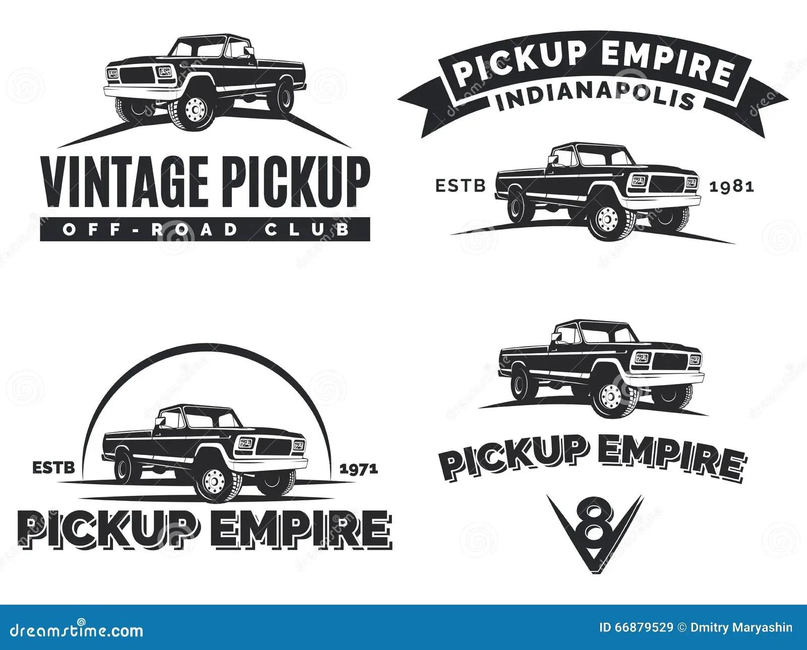 Set Of Suv Pickup Car Vector Emblems Labels And Logos Stock Vector