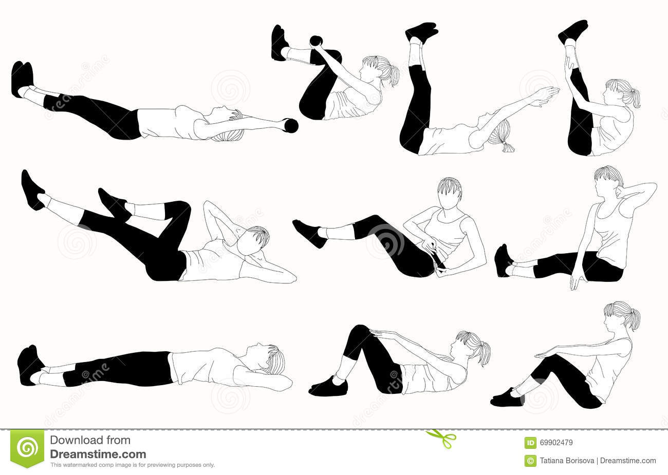 Set Of Systematic For Press Exercises. Stock Vector