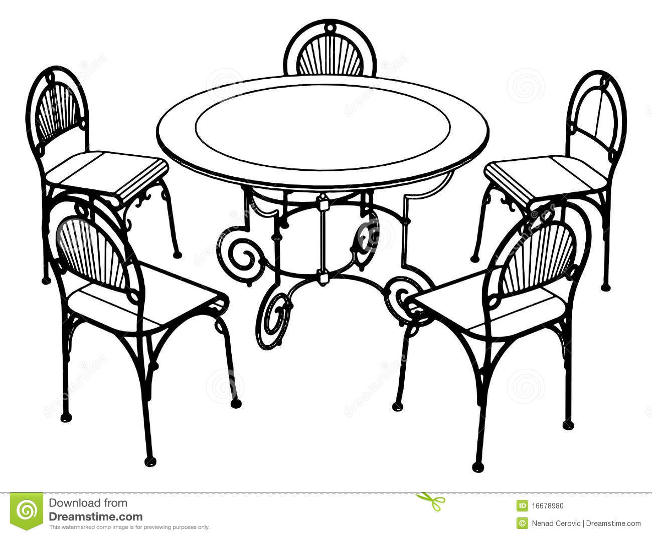 Set Table And Chairs Vector 02 Stock Photo