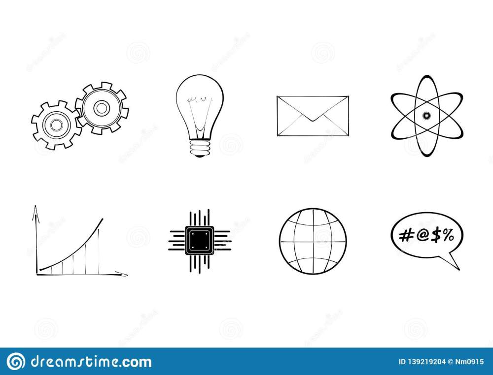 medium resolution of set of technology and science signs diagram gear bulb atom envelope globe and processor schematic isolated vector icon