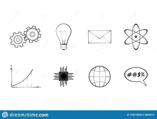 small resolution of set of technology and science signs diagram gear bulb atom envelope globe and processor schematic isolated vector icon