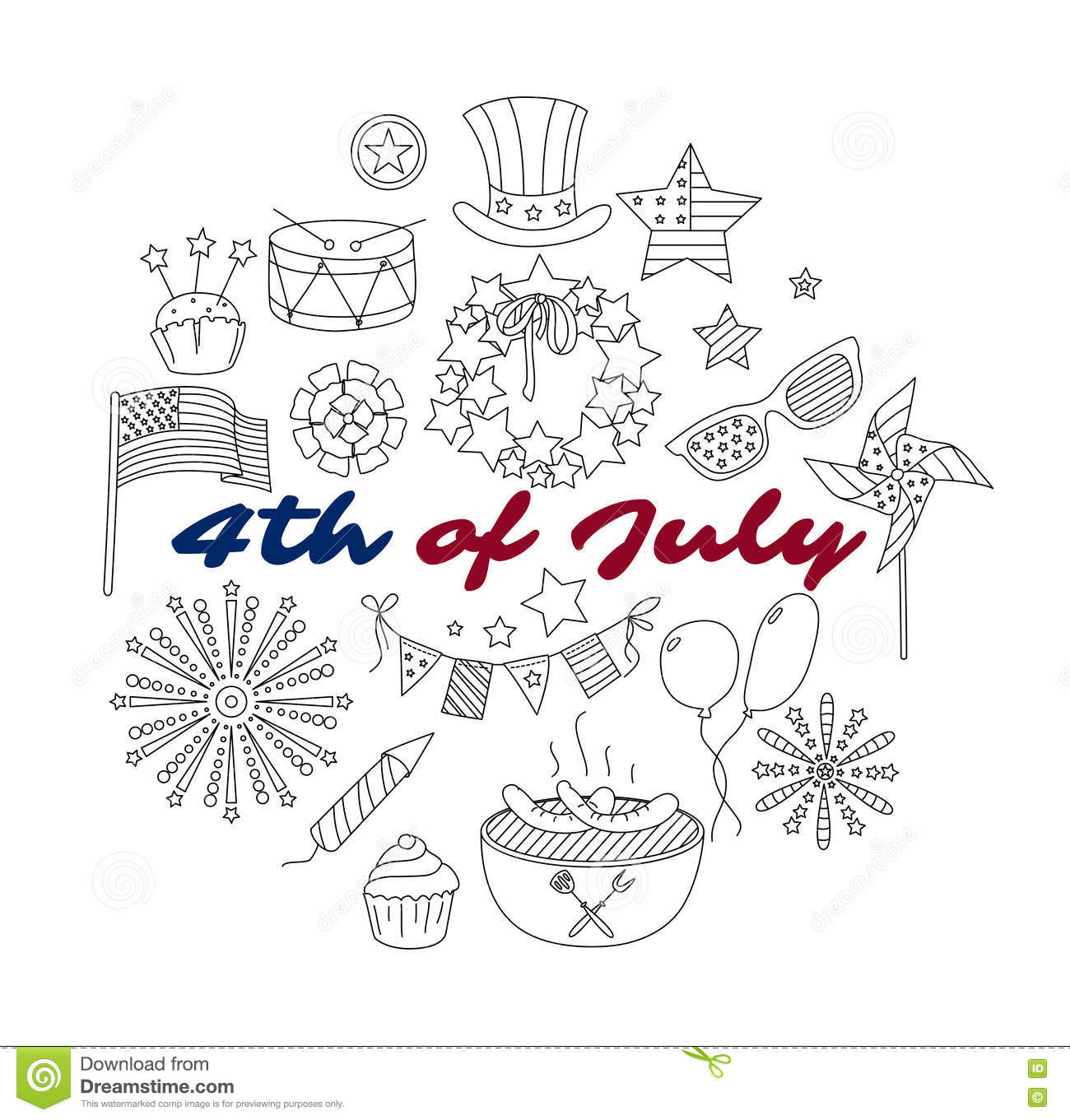 Set Of Thin Line Elements For Usa 4th July Stock Vector