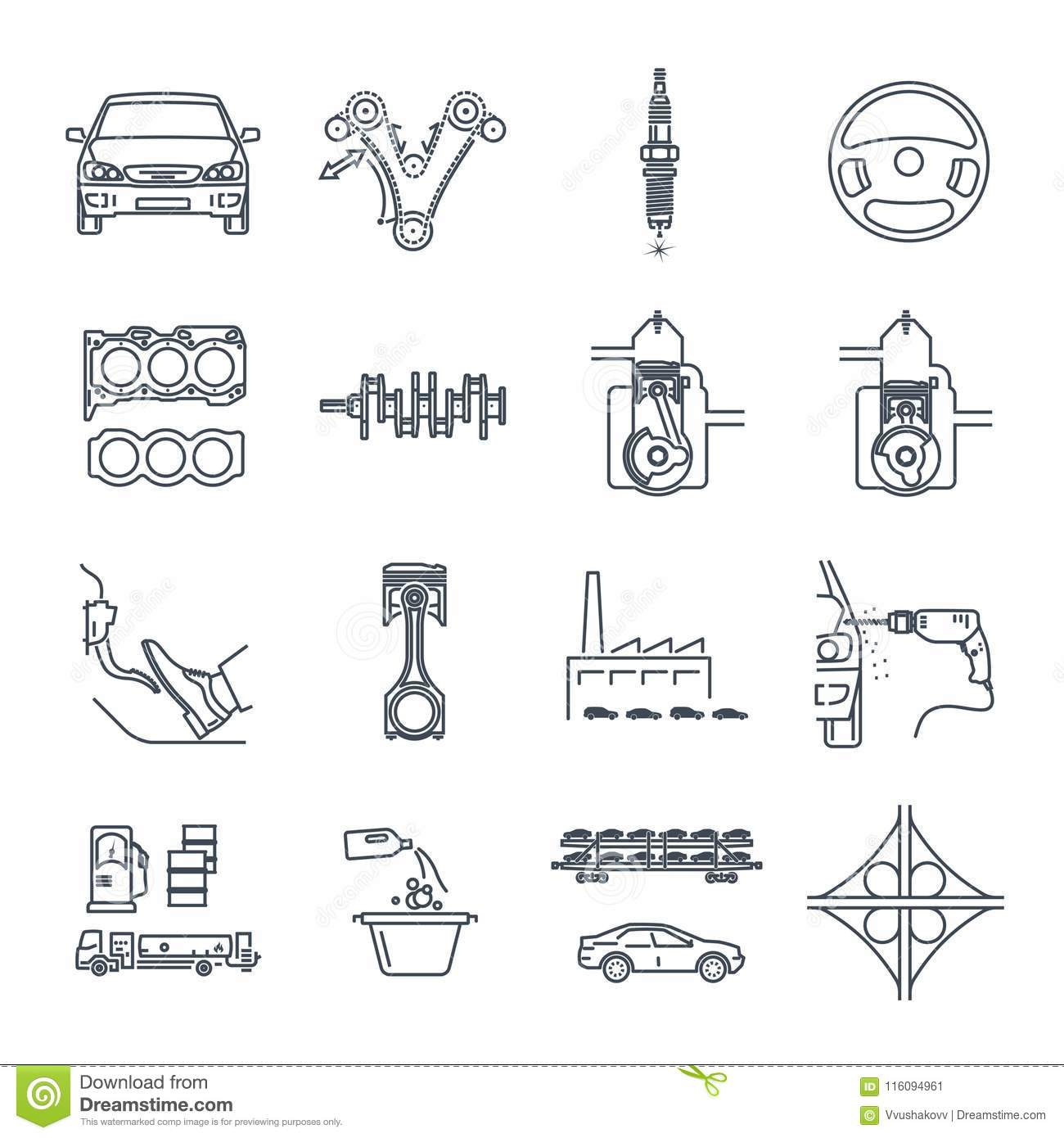 Set Of Thin Line Icons Servicing, Maintenance, Repair Of