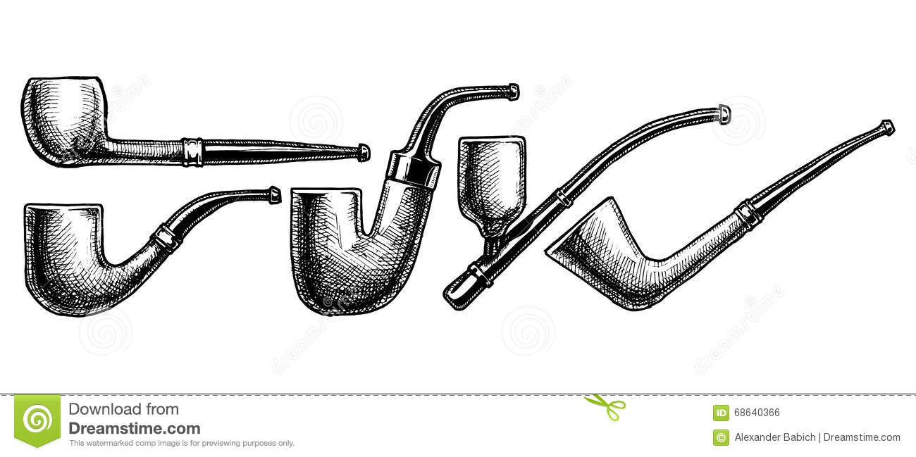 Set Of Tobacco Pipes On White Background Stock Vector