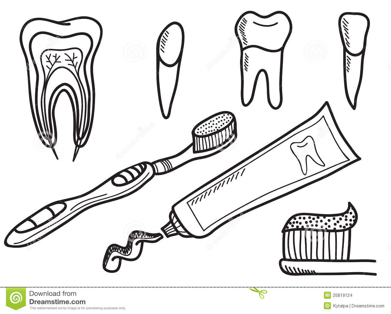 Set Of Tooth Brushing Icons Stock Vector