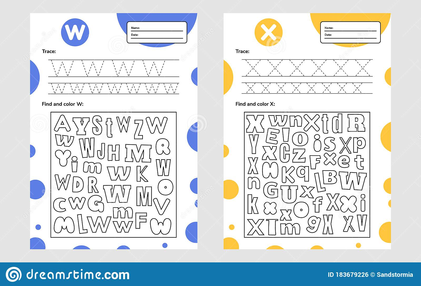 Set Trace Letter Worksheet A4 For Kids Preschool And