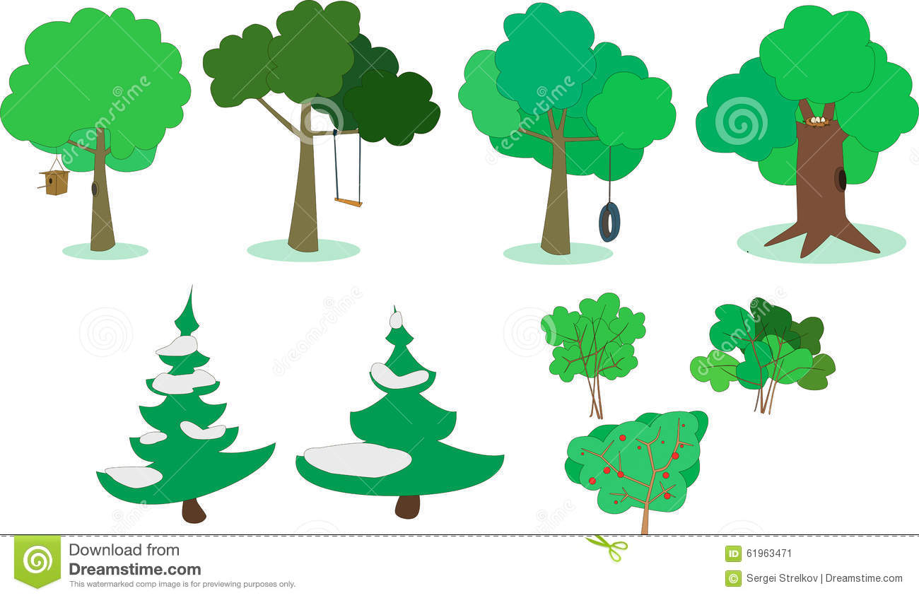 Set Of Trees And Shrubs Stock Vector