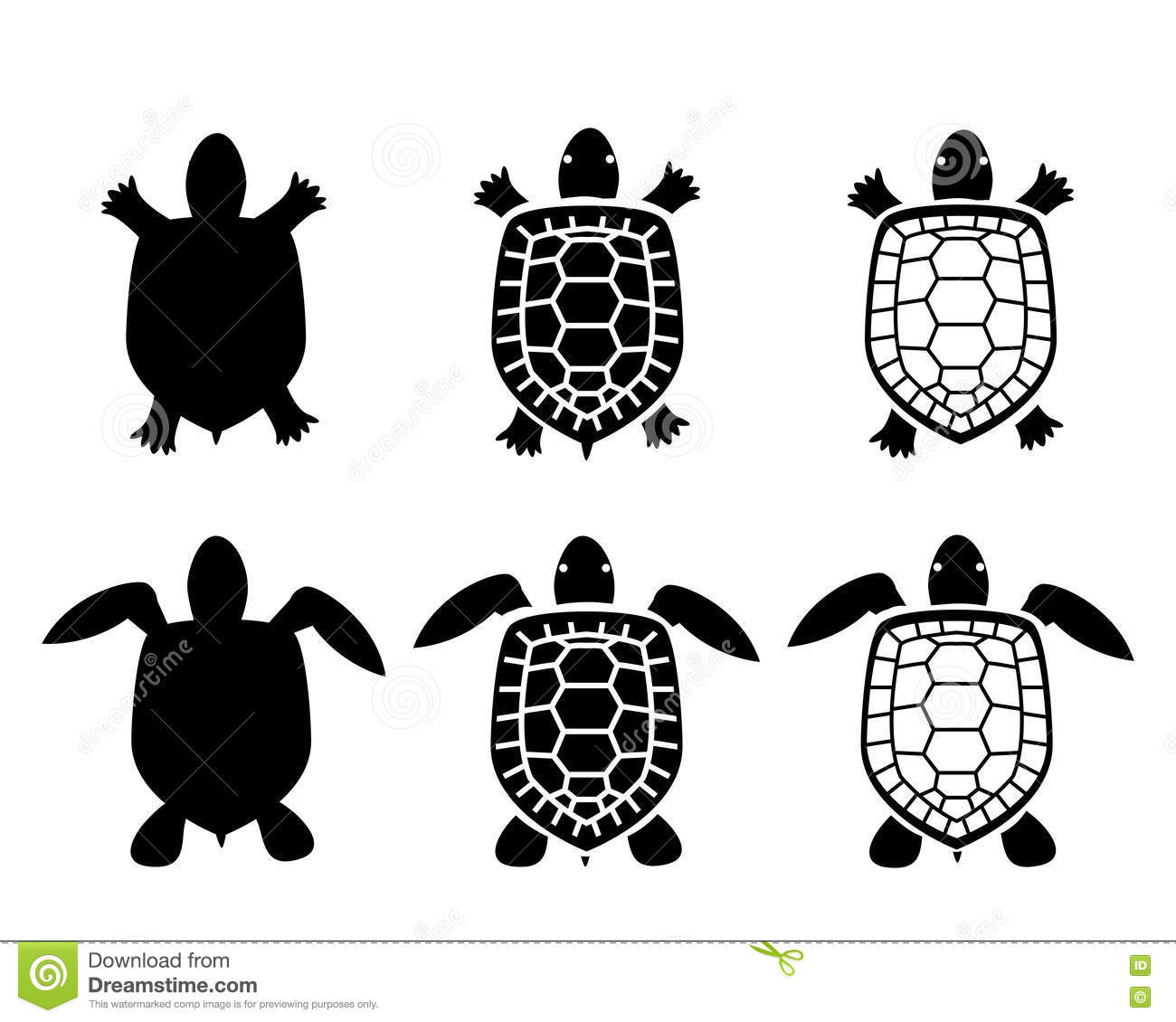Turtle Set Cartoon Vector