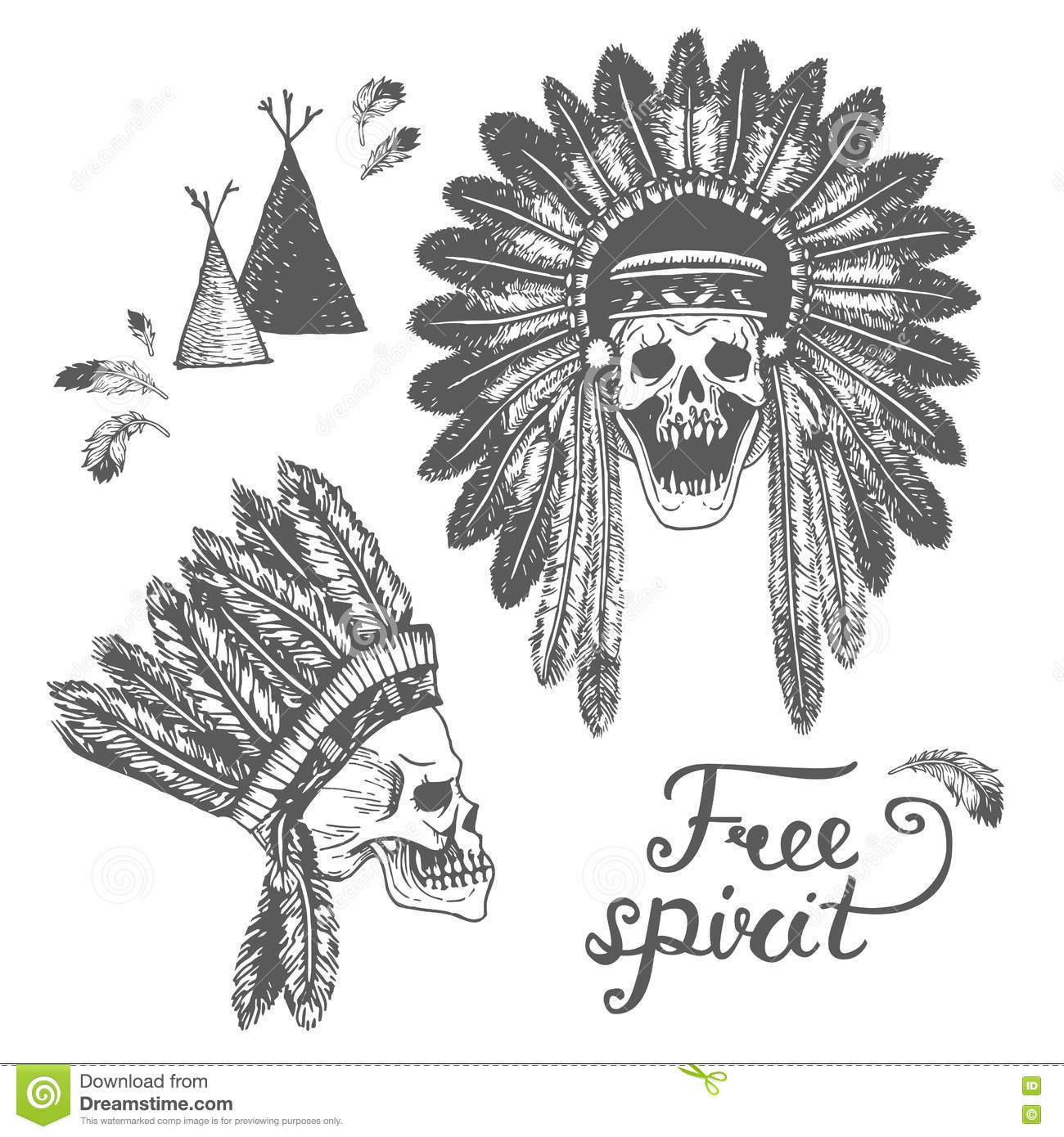 Set Of Two Hand Drawn American Indian Headdress With Human