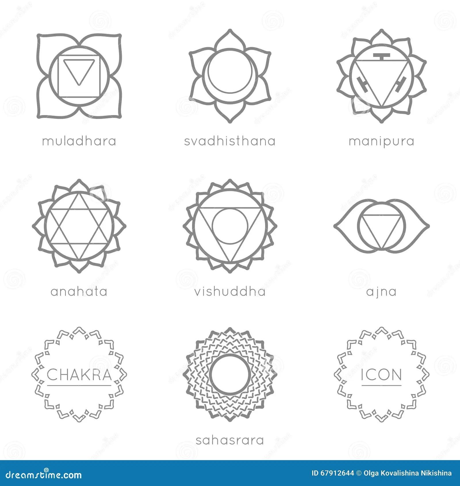 Set Of Universal Chakras Icons Stock Illustration
