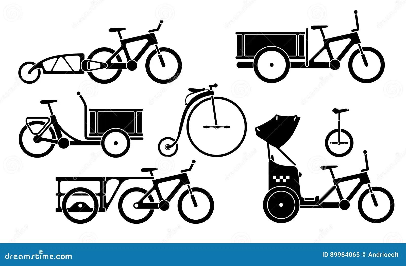 Set Of Utility Bikes And Trikes Silhouette Icons Stock
