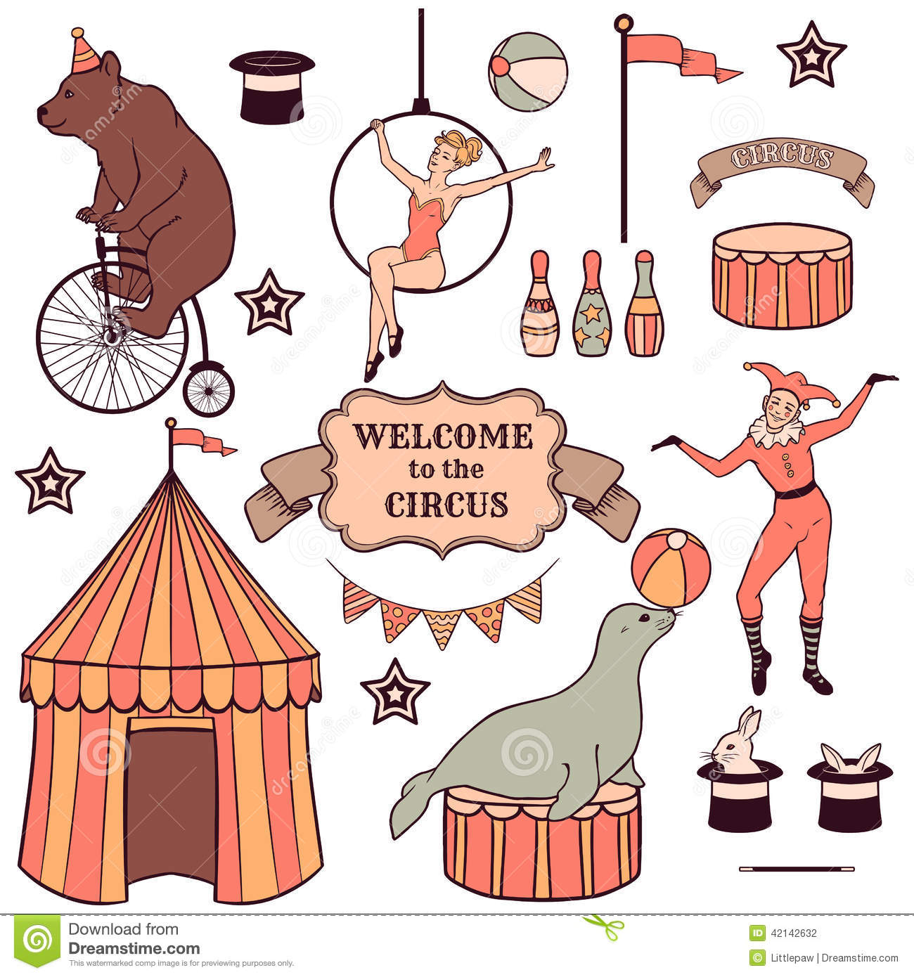 Set Of Various Circus Elements Stock Vector