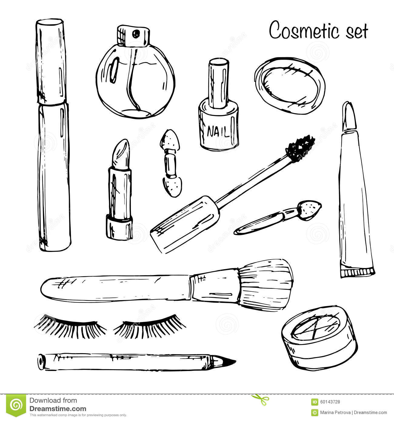 Set Of Various Make Up Products In Sketch Style. Vector
