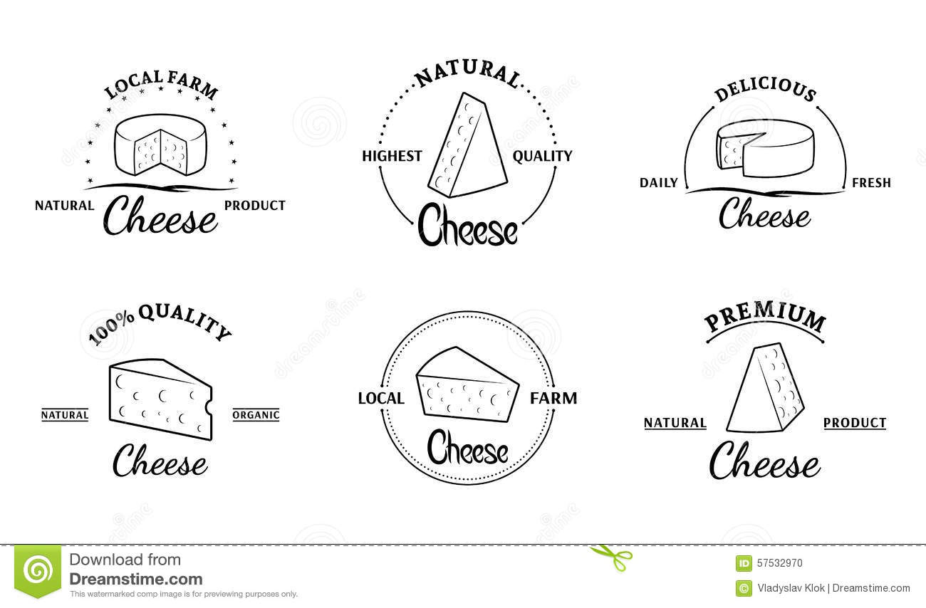 Set Of Vector Cheese Labels And Design Elements Stock
