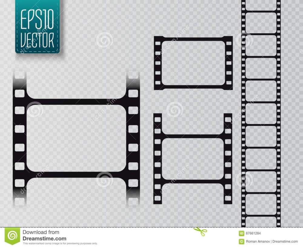 medium resolution of set of vector film strip isolated on transparent background