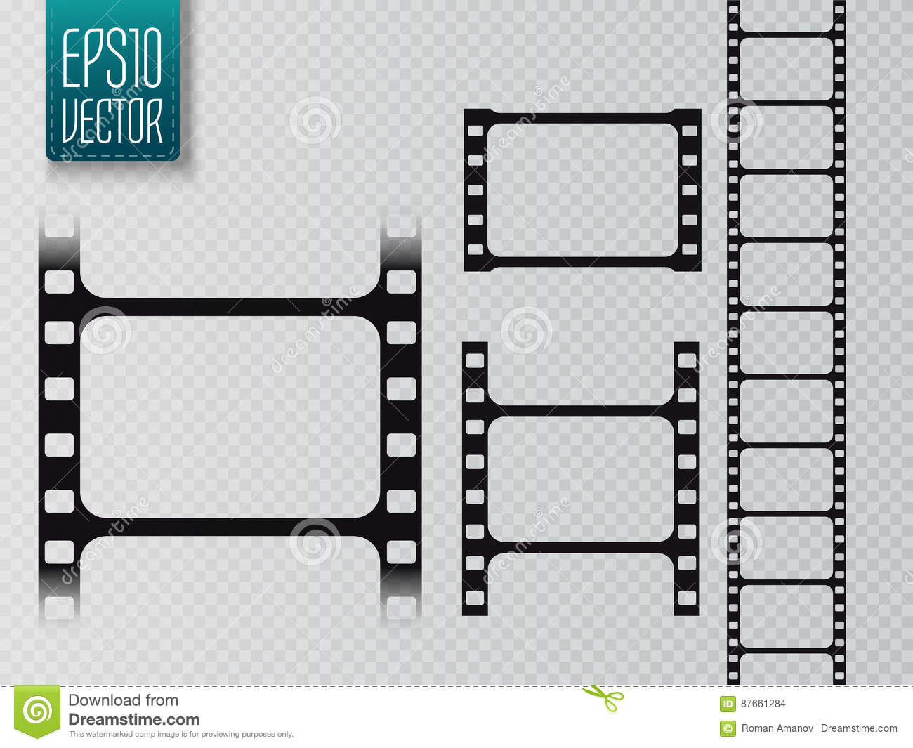 hight resolution of set of vector film strip isolated on transparent background