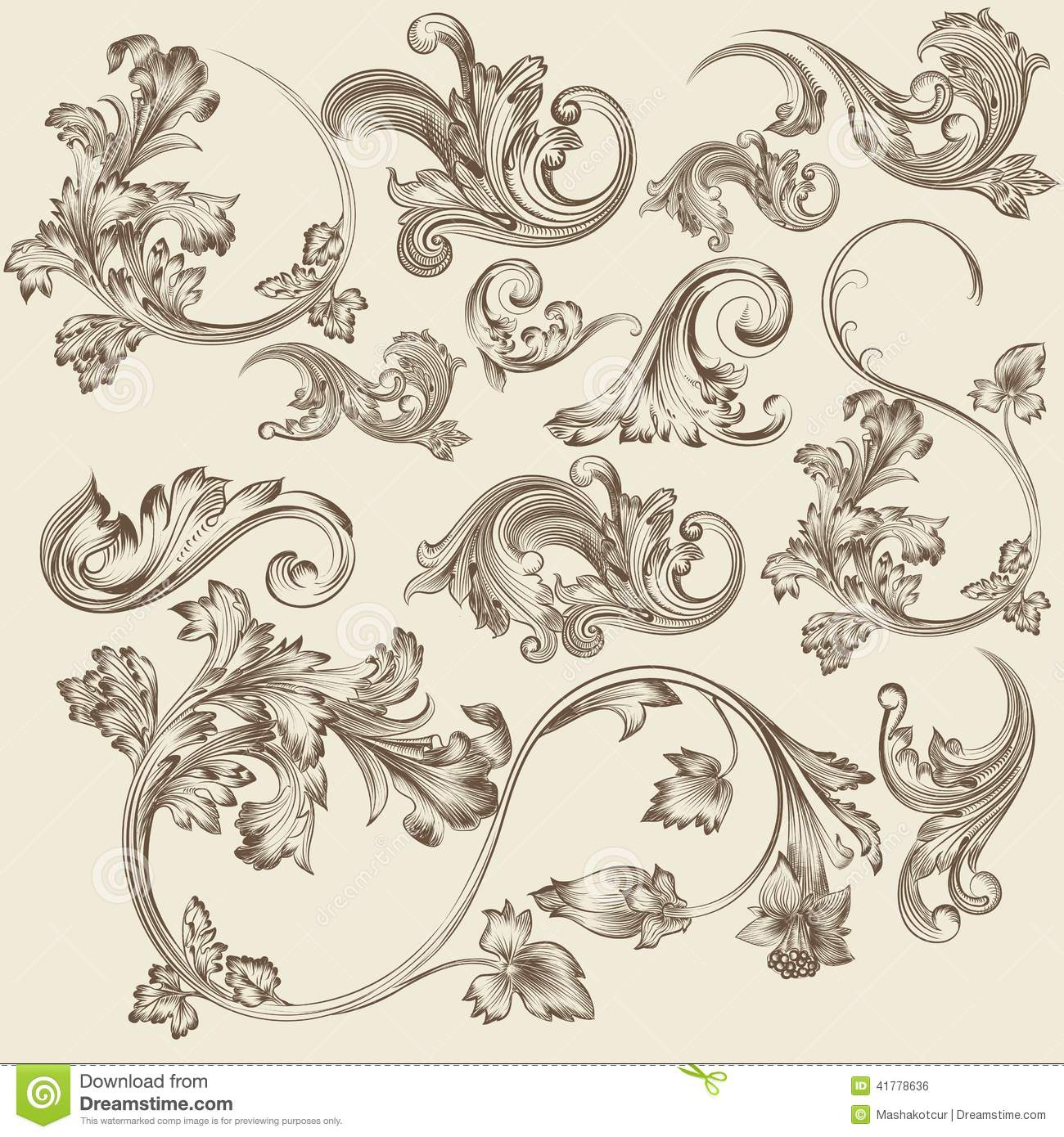 Set Of Vector Flourishes In Vintage Style Stock Vector