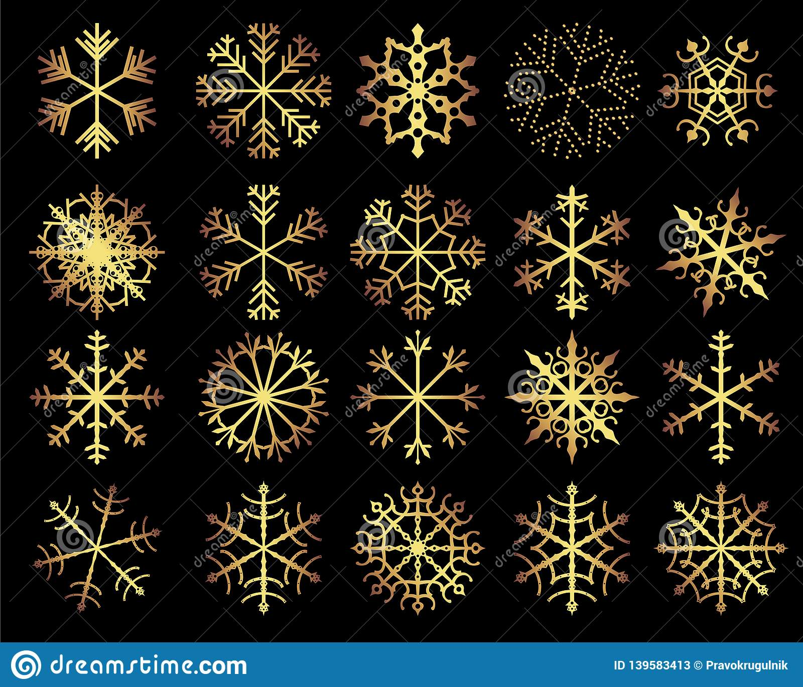 Set Of Vector Gold Snowflakes