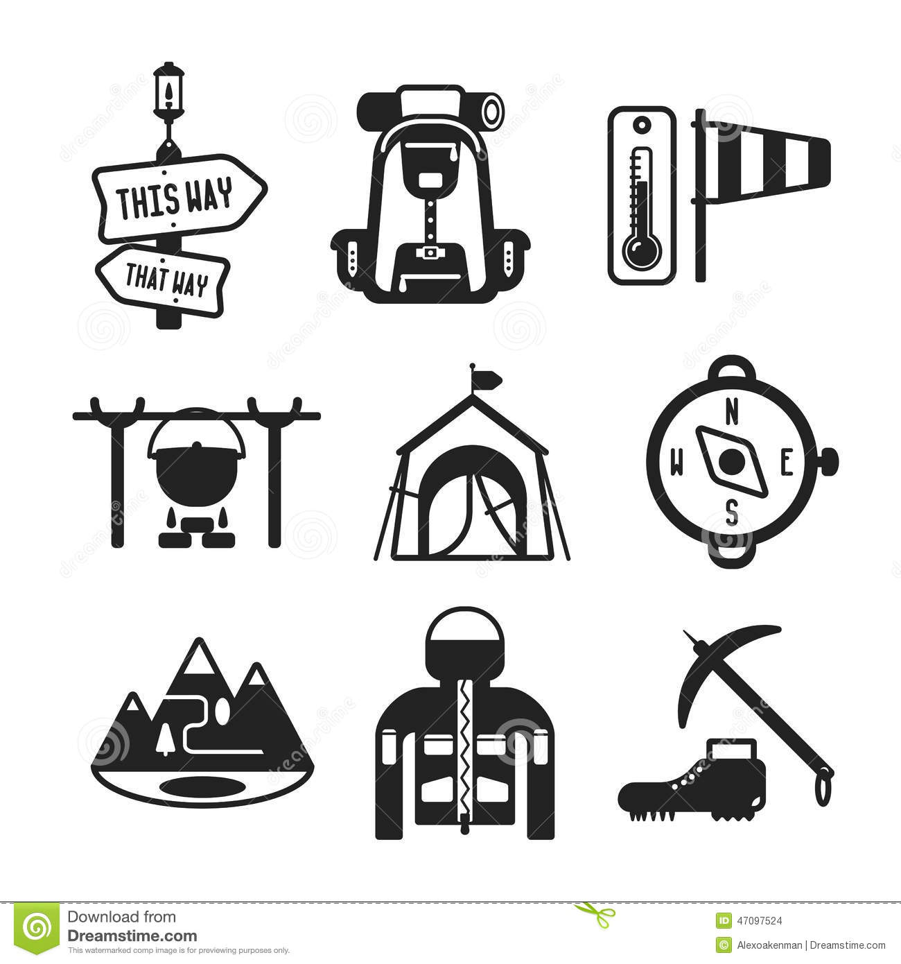 Camping Vector Icon Set On Gray Cartoon Vector