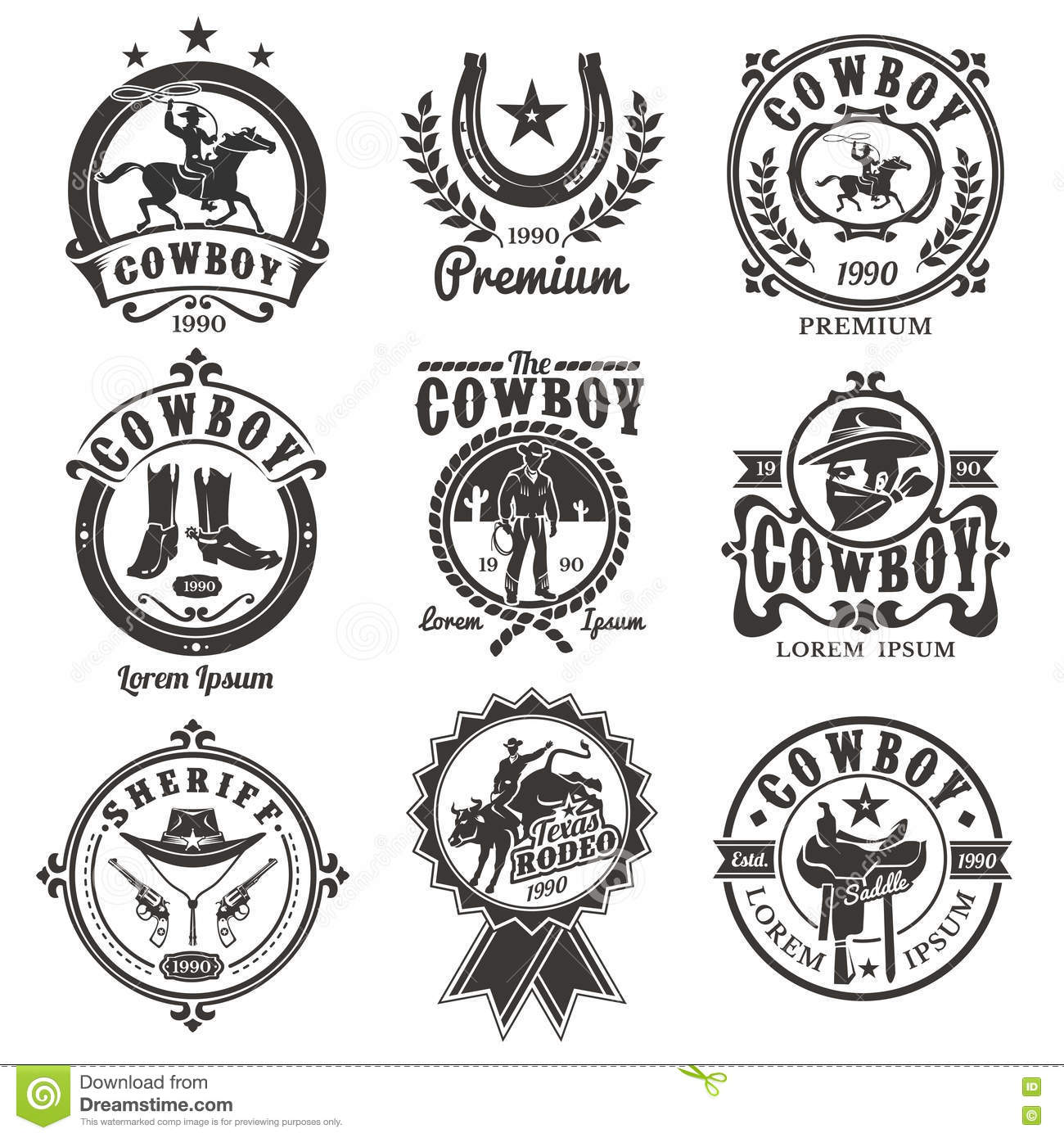 Set Of Vector Rodeo Logos Stock Vector Illustration Of