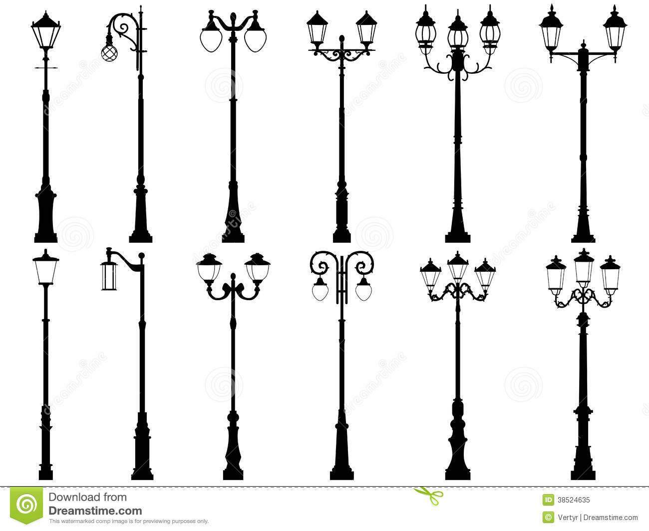 Set Of Vector Silhouettes Of Lamppost Royalty Free Stock