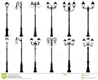 Set Of Vector Silhouettes Of Lamppost. Stock Vector ...
