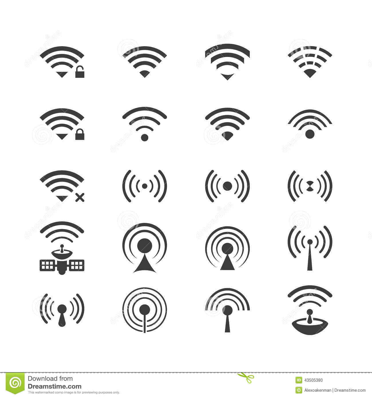 Set Of Vector Wireless Icons For Wifi Remote Control