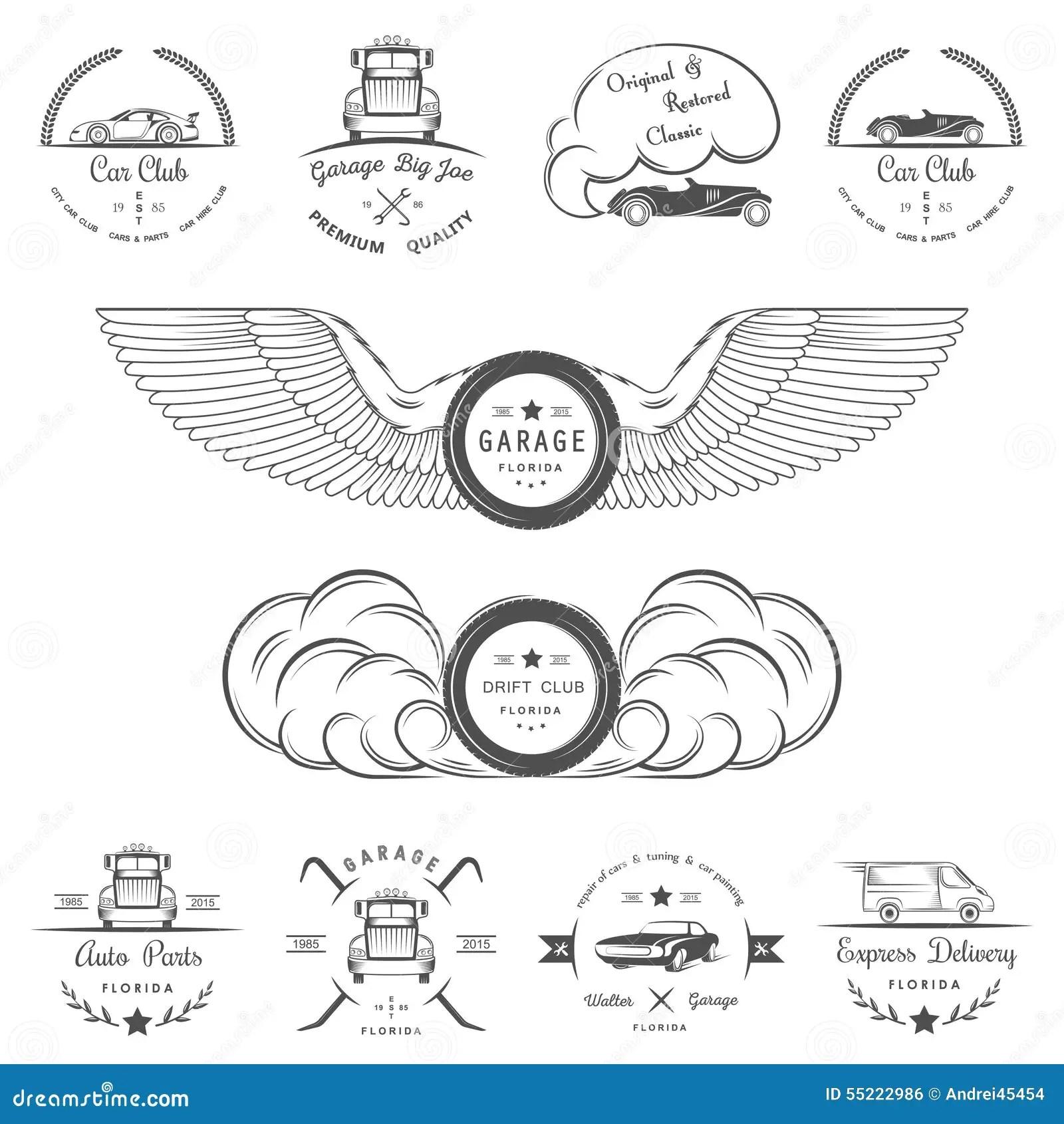 Set Of Vintage Badges Car Club And Garage Stock