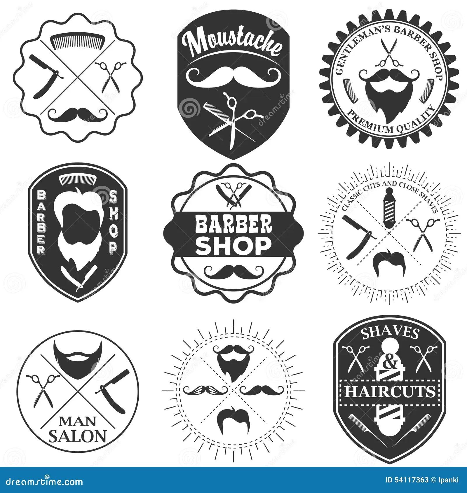Set Of Vintage Barber Shop Logo Templates Labels And