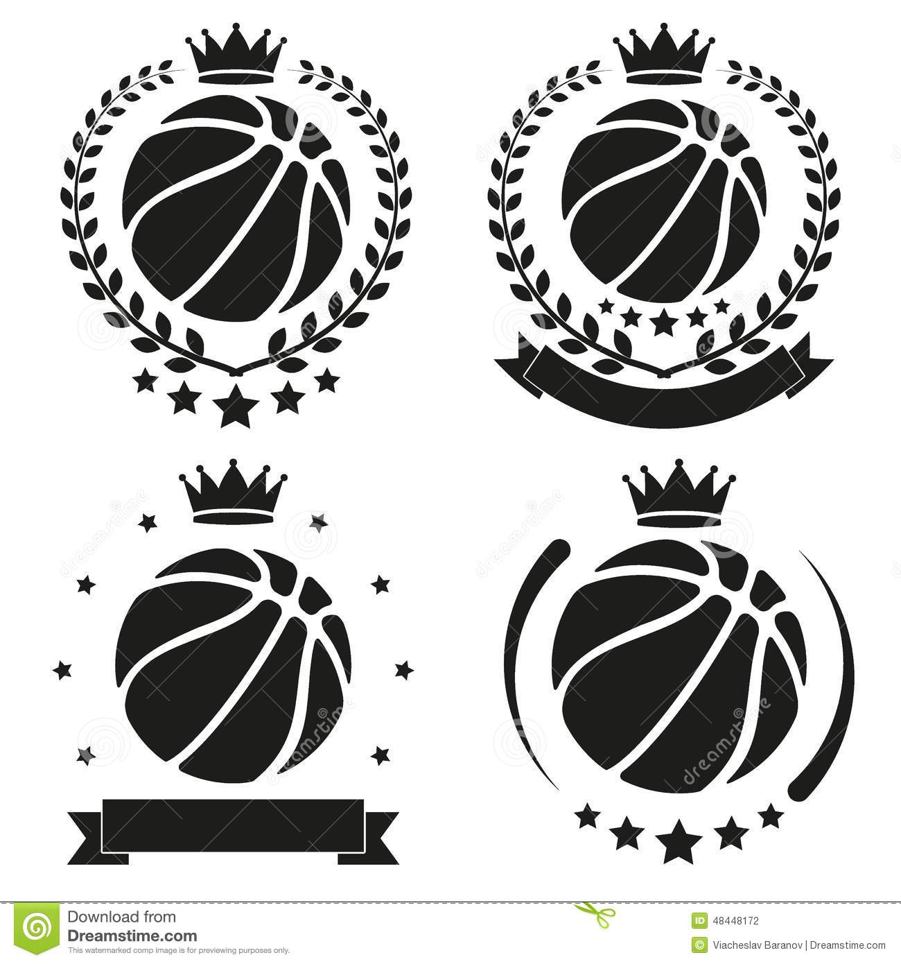 Set Of Vintage Basketball Club Badge And Label Stock