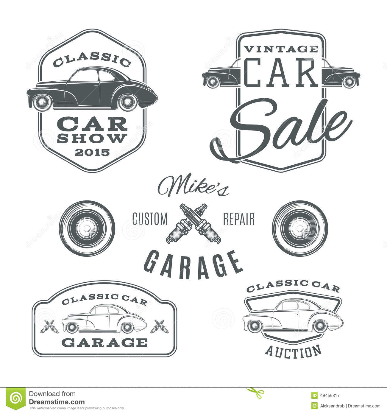 Set Of Vintage, Classic Car Services Labels Stock Vector