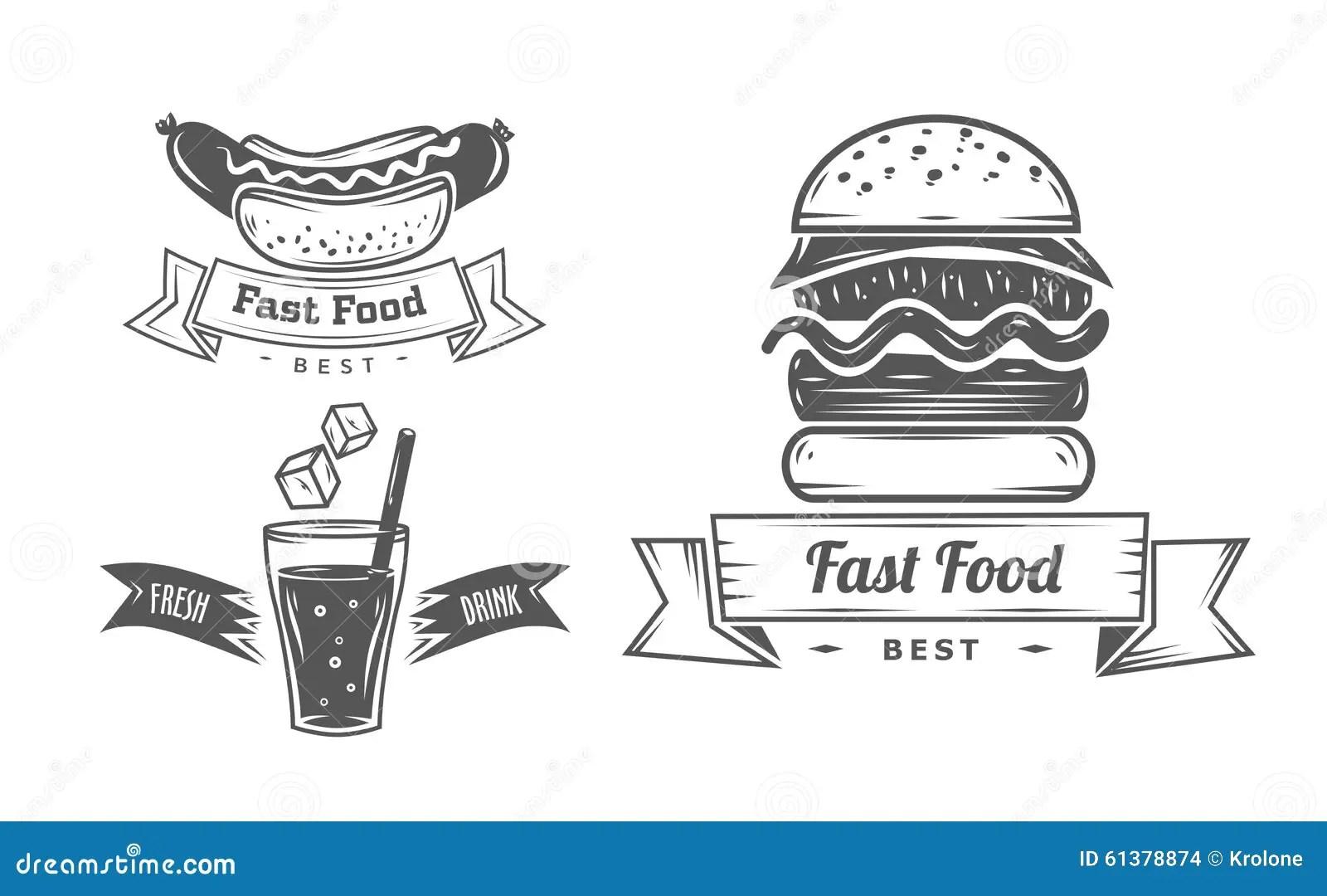 Set Of Vintage Fast Food Restaurant Signs, Panel Stock