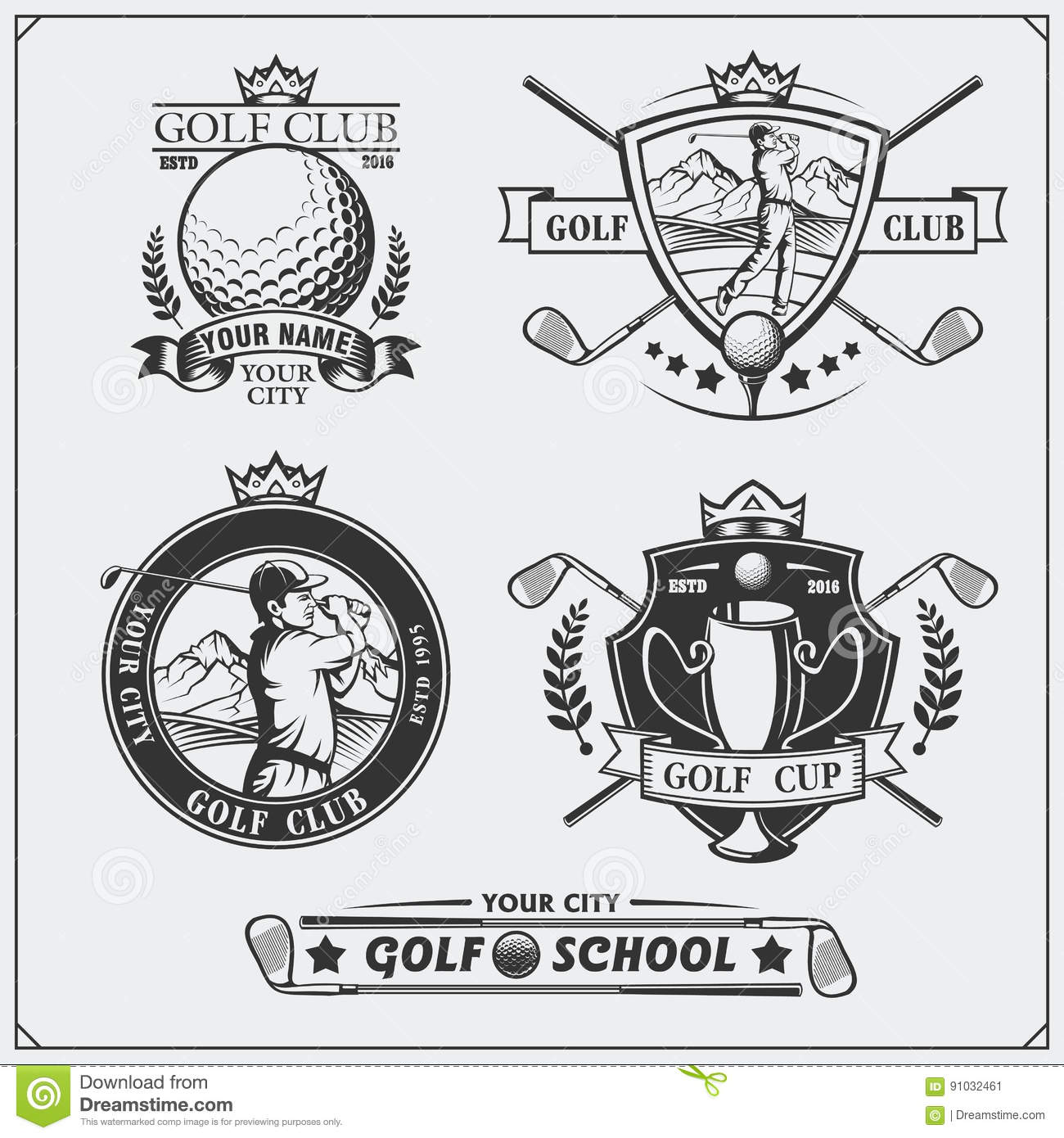Vintage Badges Set, Athletic Sport Typography For T Shirt